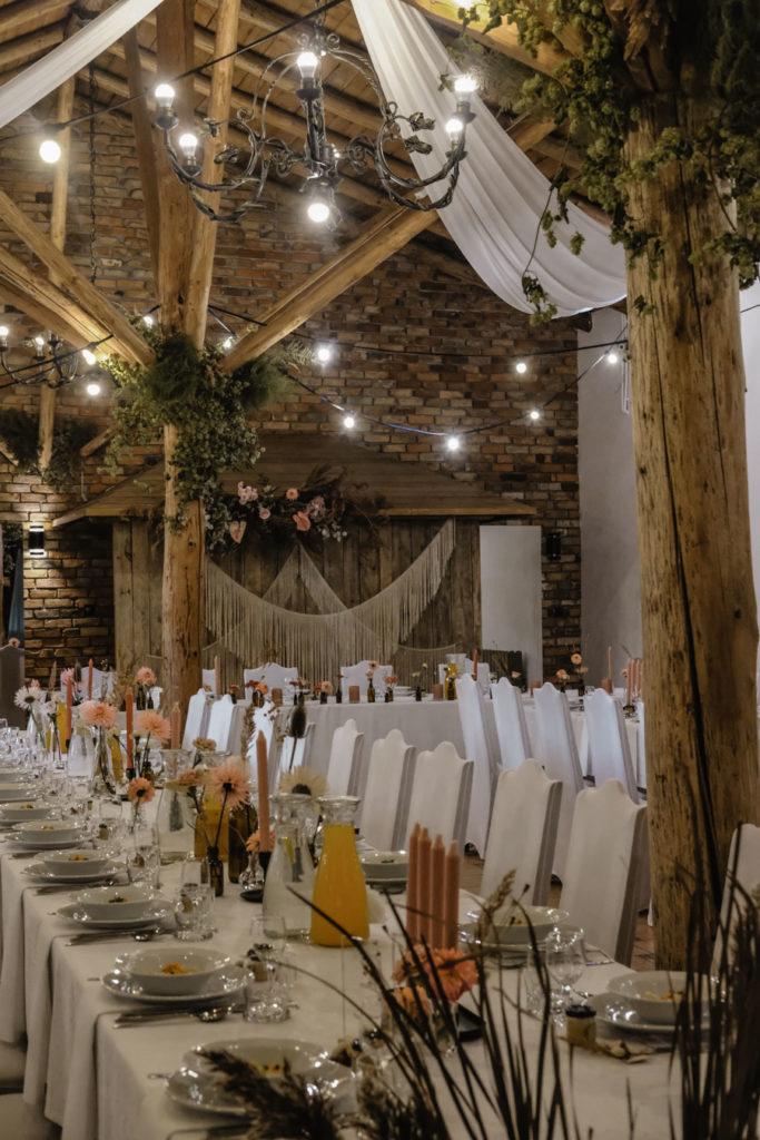 Dekoracja ślubna boho sala weselna Zaścianek Chwaszczyno